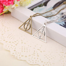 Hot retro triangle pendant necklace Luna death saint European and American movie peripheral jewelry ancient gold ancient silver hot european american style ancient silver steering wheel rudder charm pendant infinity love weaving bracelet women jewelry gift