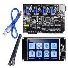 Bigtreetech skr placa de controle e3, placa de controle com tela sensível ao toque tft35 atualização para ender 3 3d impressora placa driver tmc2209 uart skr wifi