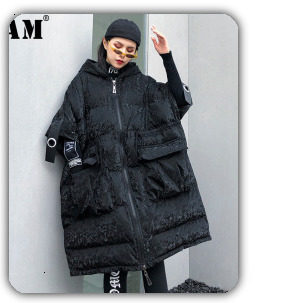 [EAM] Black Big Size Hooded Cotton-padded Coat Long Sleeve Loose Fit Women Parkas Fashion Tide New Autumn Winter 2019 1H886 16