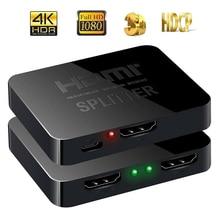 HDCP 4K HDMI Splitter Volle HD 1080p Video HDMI Switch Switcher 1X2 Split 1 in 2 Out Verstärker dual Display Für HDTV DVD