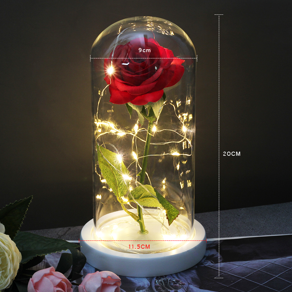 Romantic Eternal Rose Artificial Flower Beauty And The Beast Rose In Glass  Dome For Mother's Birthday Valentines Day Gif Dorp|Artificial & Dried  Flowers| - AliExpress