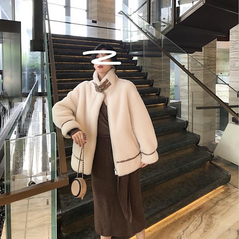 Winter Sheep Shearing Real Fur Coat Korean 100% Wool Jacket Women Clothes 2020 Manteau Femme YY1035