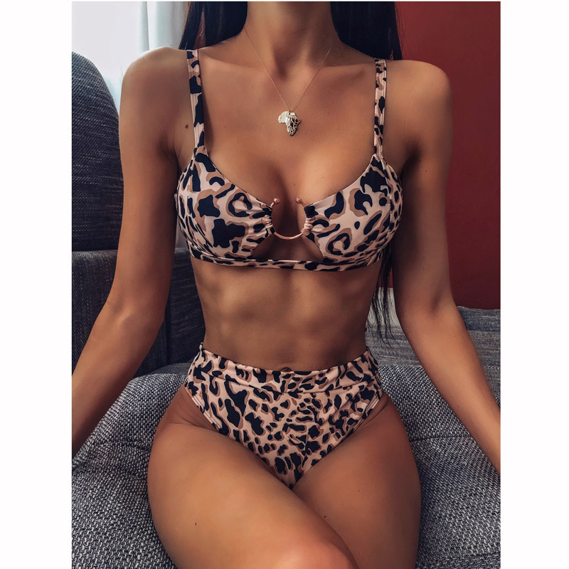 2020 Sexy Women High Waist Bikini Swimsuit Swimwear Female Bandeau Thong Brazilian Biquini Bikini Set Bathing Suit Bather 5
