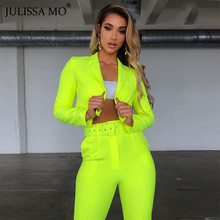 JULISSA MO Two Piece Set Women Blazers And Pants Suits Sexy V Neck Long Sleeve Chic Short Suit 2019 Autumn Office Ladies Outfits to4rooms люстра julissa