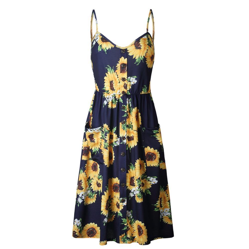 2018 New LOSSKY Women Print Floral Stripe Bohemian Dress V-Neck Sleevele Sexy Button Beach Casual Boho Midi Dress Plus Size 3XL