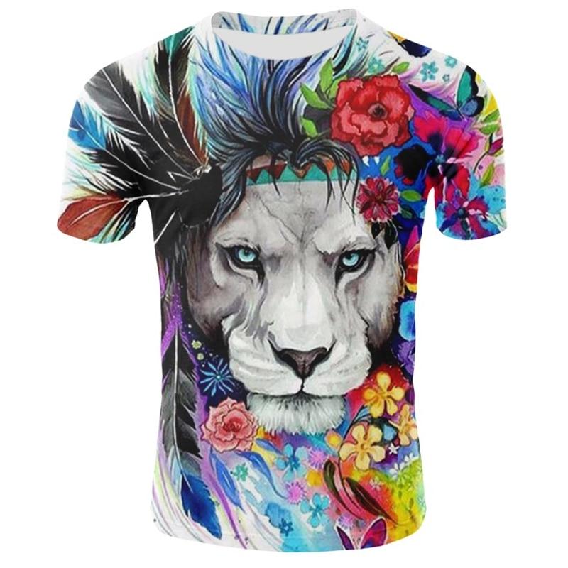 Men's 3D Lion T Shirt Summer Short Sleeve O Neck Tops Animal Pattern Clothing Hip Hop Streetwear Lion 3D Print T Shirts