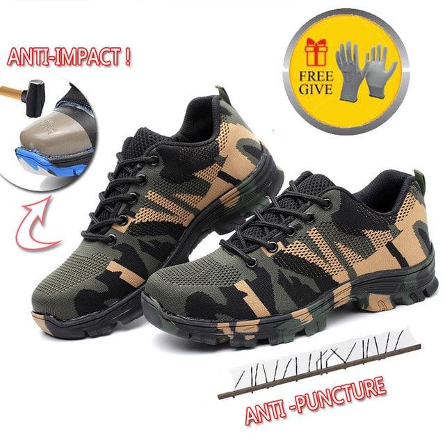 Puntura Prova di Scarpe Stivali Da Lavoro di sicurezza con Puntale In Acciaio Camo Mesh Traspirante Casual Scarpe di Lavoro Scarpe Da Ginnastica Mens