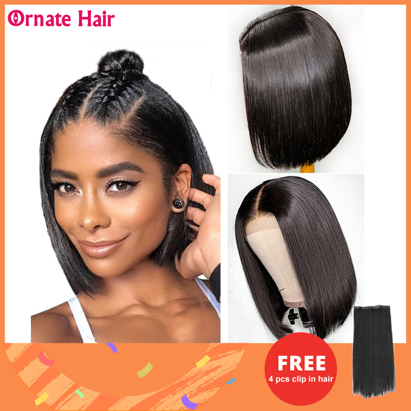 Bob Wigs Bone Straight Human Hair Wigs For Women Brazilian Hair Wigs Pre-plucked 4x4 Lace Closure Wig Natural Hairline 8-14 Inch