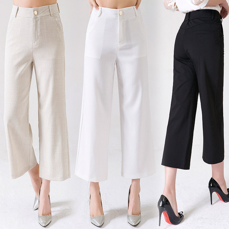 2019 Thin Cotton Linen Loose   Pants   Women's Summer High-waisted Loose Casual   Pants   Korean-style Versatile Solid Color   Capri     Pants