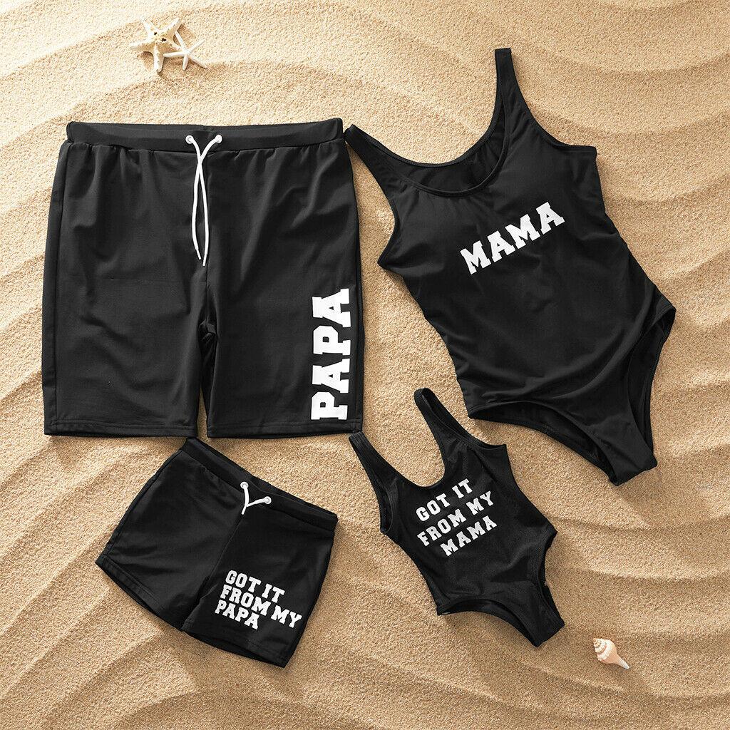 Family Matching Swimwear Men Women Boys Girls Black Bikini Set Swimsuit Beachwear Mama's Papa Swimwear 2019 Bathing Suit