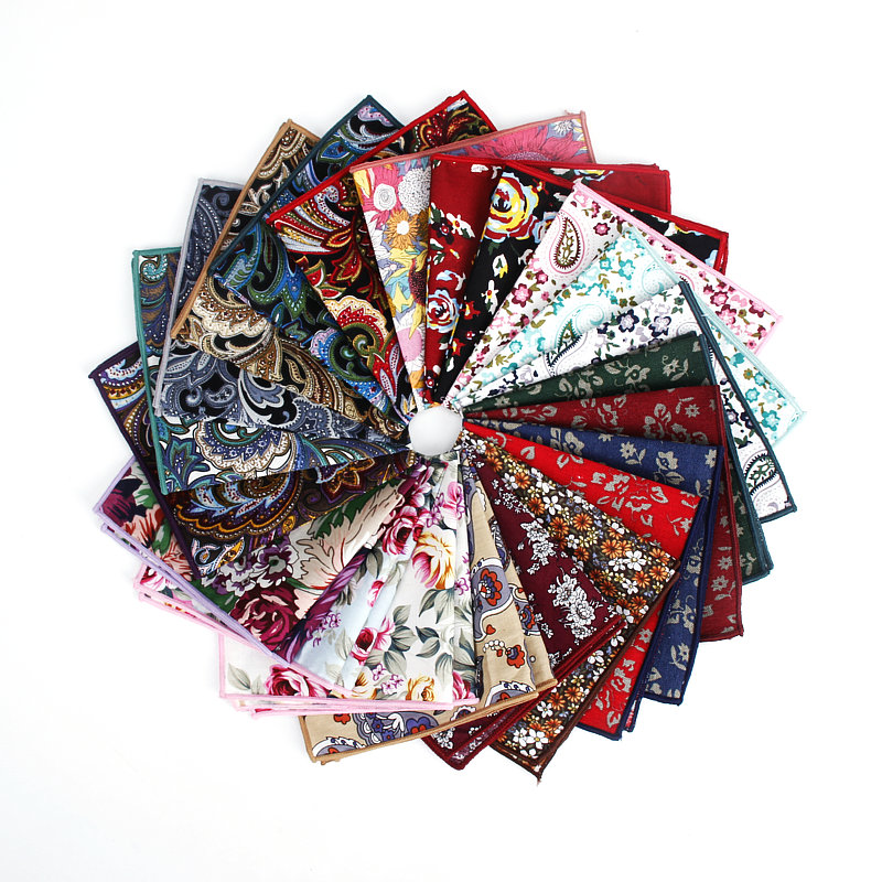 Brand New Style Men's Vintage Hankerchief Scarves Flower Cotton Hankies Men's Pocket Square Handkerchiefs Rose Flower Paisley