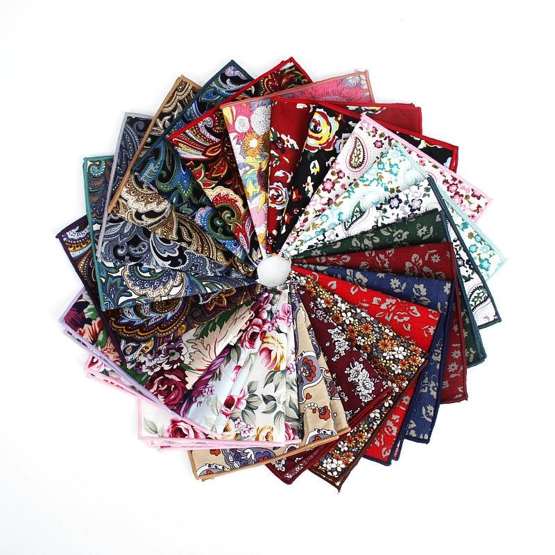 Brand New Style Men's Vintage Hankerchief Scarves Flower Cotton Hankies Men's Pocket Square Handkerchiefs Rose Flower Paisley