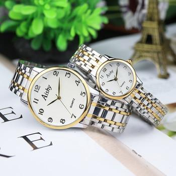 Luxury Brand Couple Watch Man and woman sport Simple Elegant Stainless steel Waterproof Watch Business Wristwatch