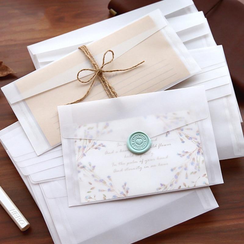 10 pcs/lot Transparent Paper Envelopes Set Simple Vintage Envelope for Wedding Invitation Blessing Greeting Cards Letter Gifts