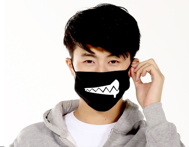 Dustproof Mouth Mask Pop Cotton Face Mouth Mask Cartoon Face Reusable Fabric Anti Pollution Mask Party Mask 5