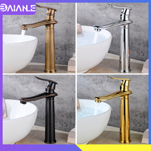 Tall Basin Faucet Black Brass Bathroom Faucet Cold and Hot Water Single Handle Hole Mixer Taps Toilet Sink Faucets Deck Mounted