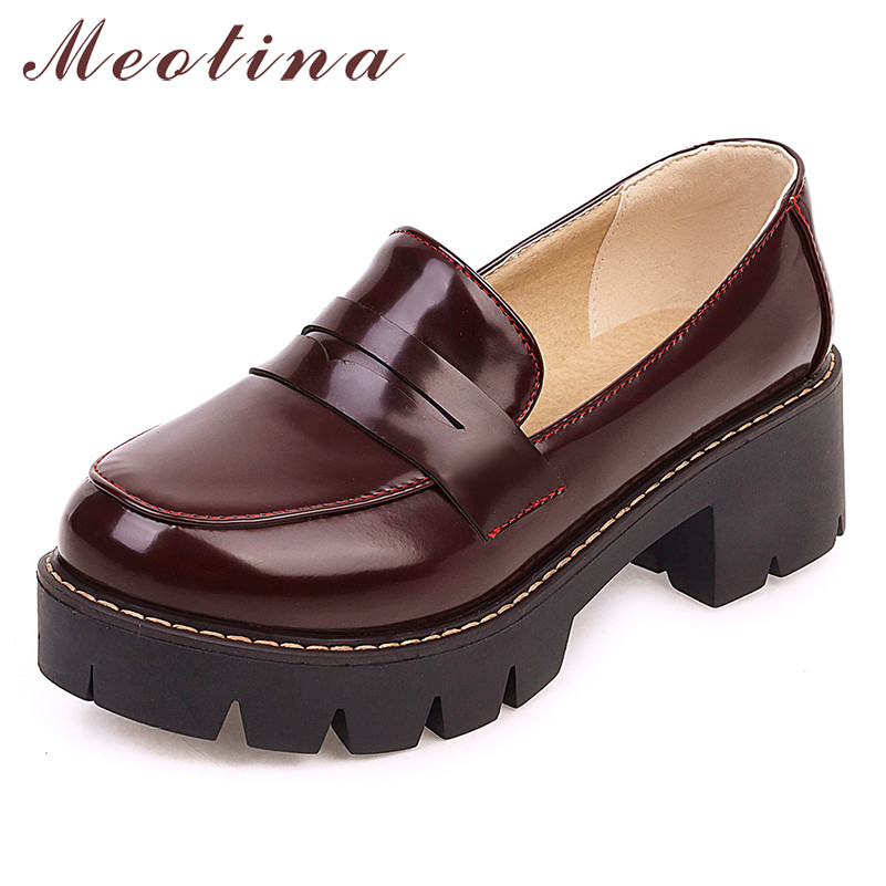 Meotina High Heels Women Pumps Fashion Platform Square Heels Loafers Shoes Casual Round Toe Shoes Lady New Spring Big Size 34-43