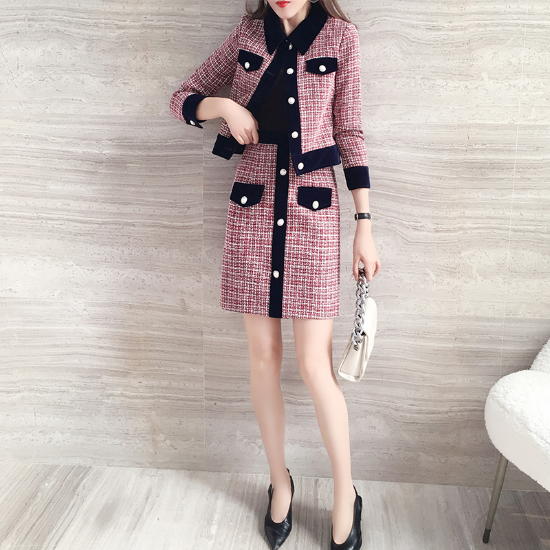 H774023bf49ac4c5f9d434f14a798d7441 - Winter Women Tweed Vintage Two Piece Skirt Suits Sets Buttons Coat And A-line Skirt Outfits Sets Elegant Fashion 2 Piece Sets