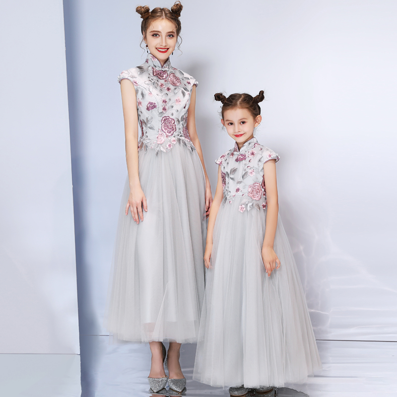 Parent-child Gray A-Line Evening Dress CB157 High Collar Short Sleeve Banquet Dresses Embroidery Gowns For Mom And Daughter