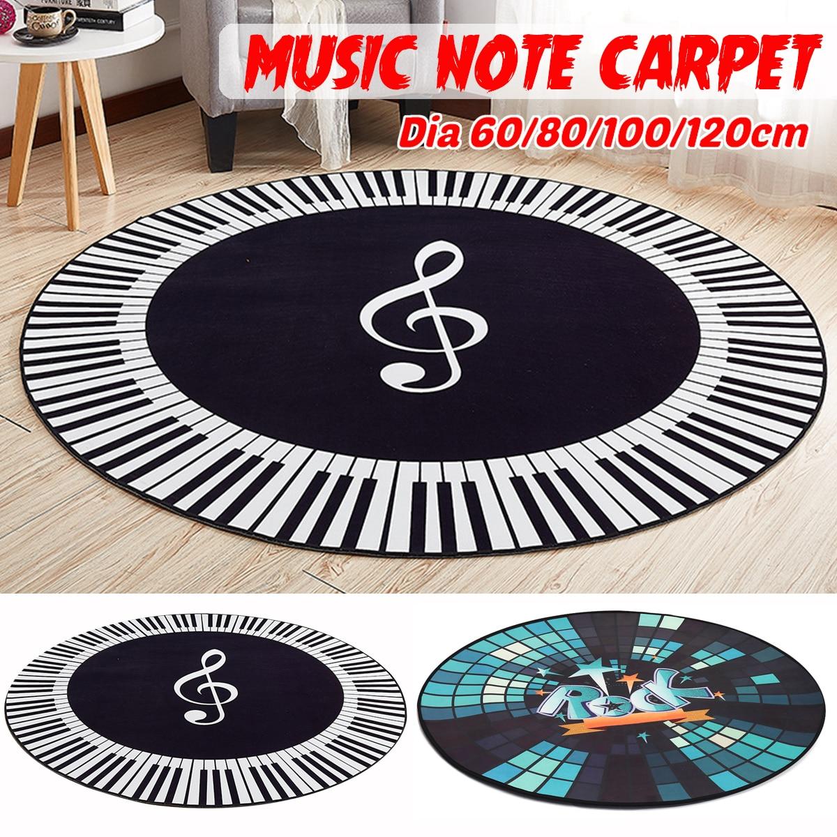 Новый Ковер Музыкальный символ фортепиано клавиши черный белый круглый ковер Противоскользящие коврики подставки для ног для дома спальни украшение для пола 4 размера
