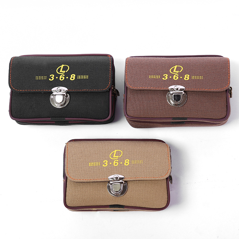 Washing Cloth Bag Cover Canvas Mobile Phone Waist Bag Wear Leather Belt Multi-functional Stall Ten Yuan Store Wallet