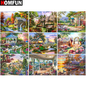 "HOMFUN Full diamond Painting ""House flower landscape"" Resin Drill Embroidery 5D Diy Diamond Painting Handmade Cross Stitch gif(China)"