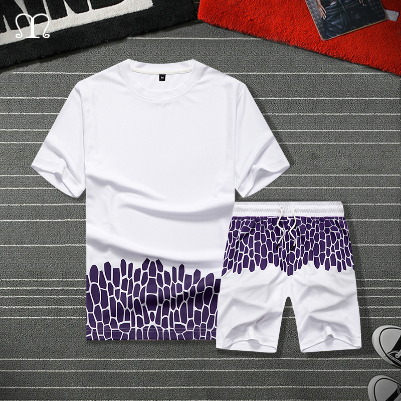 Casual Mens Tracksuit Set Summer Two Piece Sets White Cotton Short Sleeve T Shirt+ Shorts Sporting Suit Male Trainingspak Mannen