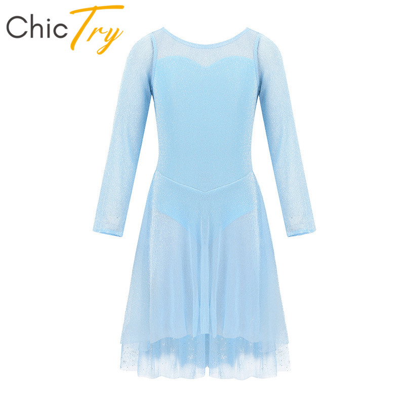 ChicTry Kids Long Sleeves Snowflake Tulle Princess Girls Ballet Figure Skating Dress Gymnastics Leotard Lyrical Dance Costumes