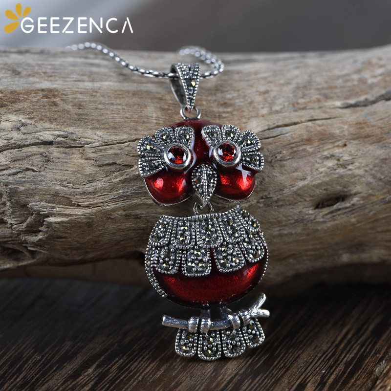 925 Sterling Thai Silver Drop Oil Marcasite Owl Pendant Fine Jewelry For Women Cute Hyperbolic Handmade Pendants Without Chain