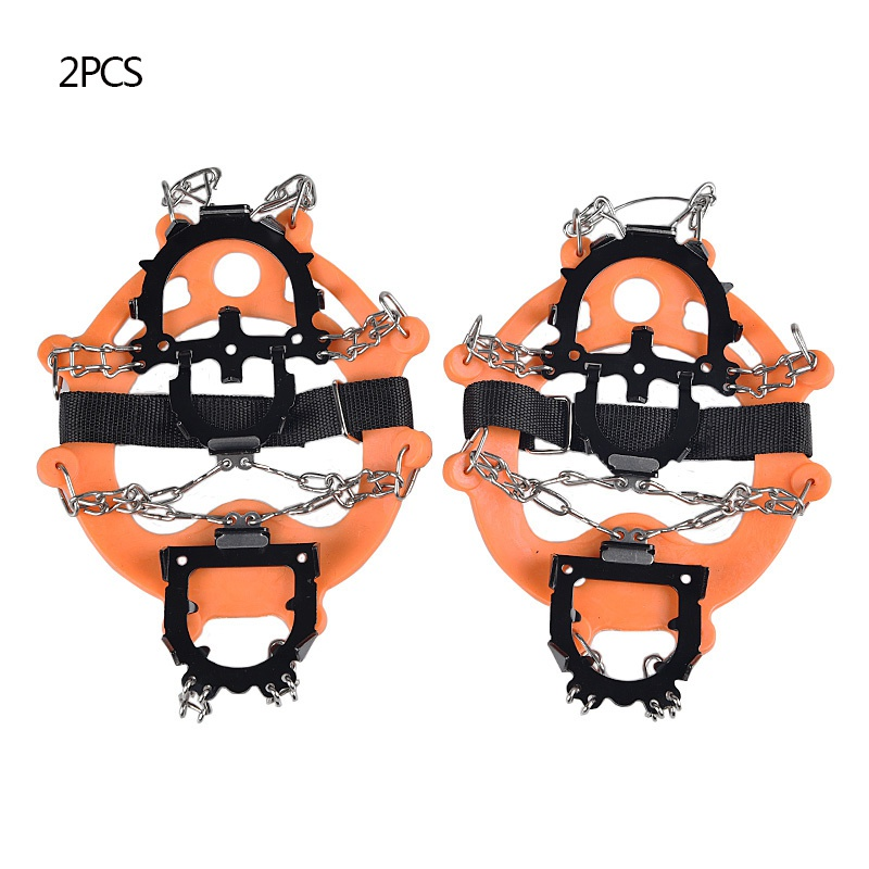 Ice Cleats Crampons Traction Snow Grips For Boots Shoes Anti Slip 12-Spikes Safe Protect For Hiking Mountaineering