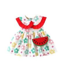DFXD  Infant Girls Dress 2020 Korean Sleeveless Flower Print Ruffles Collar Princess Dress Newborn Clothes A-line Dress With Bag girls button up banana print collar dress
