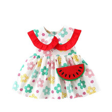 DFXD  Infant Girls Dress 2020 Korean Sleeveless Flower Print Ruffles Collar Princess Dress Newborn Clothes A-line Dress With Bag цена 2017