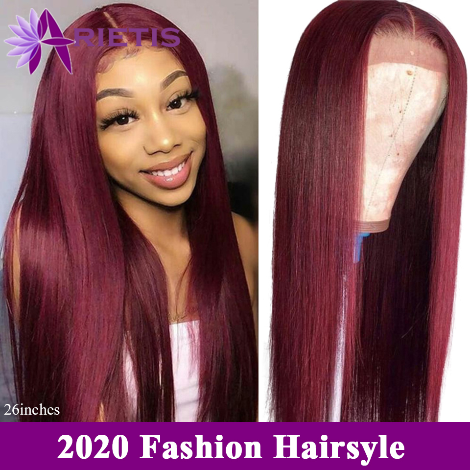 99j Straight Colored Human Hair Wigs 13*4 Lace Front Human Hair Wigs Brazilian Remy Ombre 1B/99J 150% Pre-plucked Lace Front