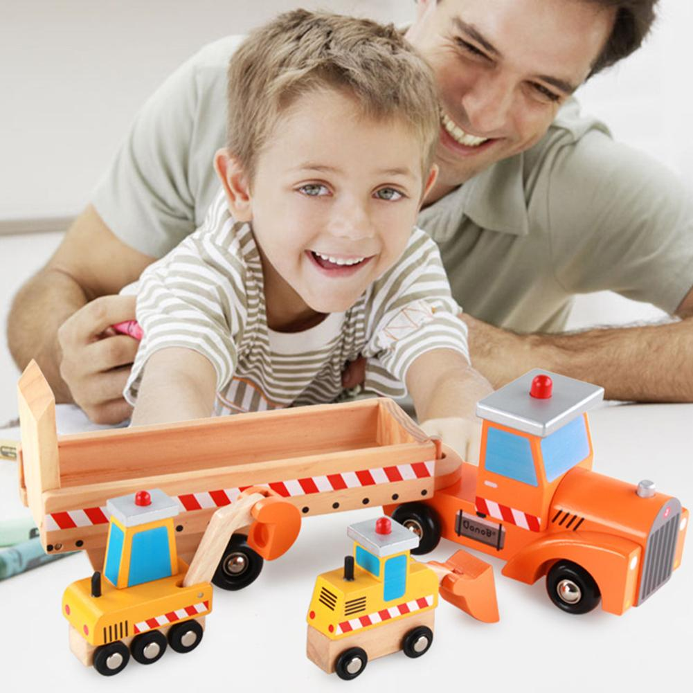 4Pcs/Set Wooden Colorful Loader Bulldozer Excavator Model Educational Kids Toy