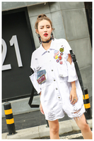 Female High Street Holes One Piece Overalls Novelty Epaulet Turn Down Collar Demin Short Jumpsuit Plus Size Loose Rompers