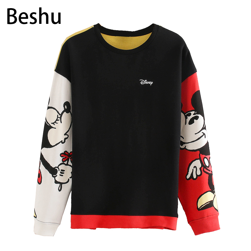 2020 Za New Casual Fashion Lady Female Women Women's Clothes Cartoon Mouse Hit Color Long Sleeve Printed Sweatshirt