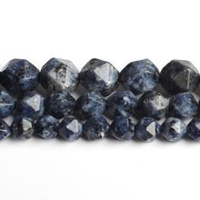 6/8/10mm natural facetado azul granito pedra redonda solta grânulos para fazer jóias diy pulseira 15 polegada/strand