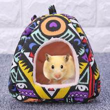 Cute Hamster Hedgehog Yurt Bed with Hanging Chain Canvas Pearl Cotton House Small Animal Winter Warm Beds Cave Pet Supplies(China)