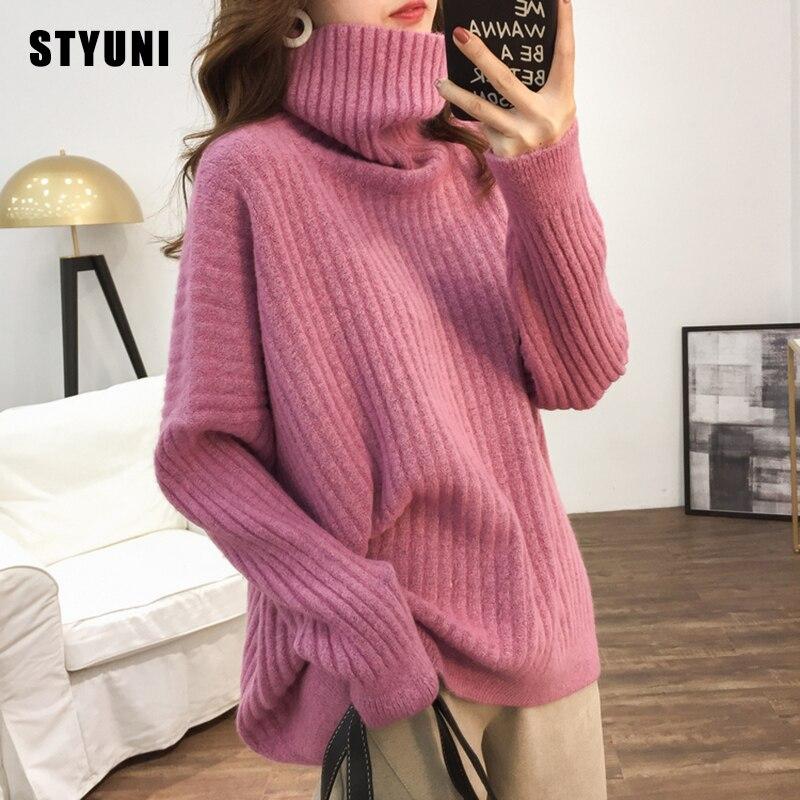 Suéter holgado cuello alto para mujer, ropa exterior, otoño e invierno, suéter básico grueso, sudadera coreana, color puro, novedad de 2020
