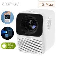 Versão global wanbo t2 max projetor led projetor portátil 1920*1080p correção keystone vertical para home theater