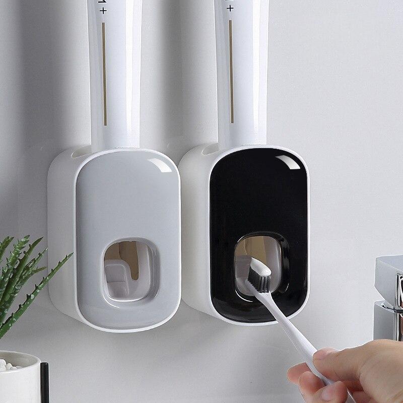 Exprimidor automático de pasta de dientes de montaje en pared, dispensador de pasta de dientes de plástico, soporte de montaje en pared para inodoro, hogar, juegos de accesorios para Baño Estante de almacenaje para cocina de 2/3/4 capas, Torre deslizante delgada, montaje movible, estante de plástico para baño, ruedas organizador de ahorro de espacio