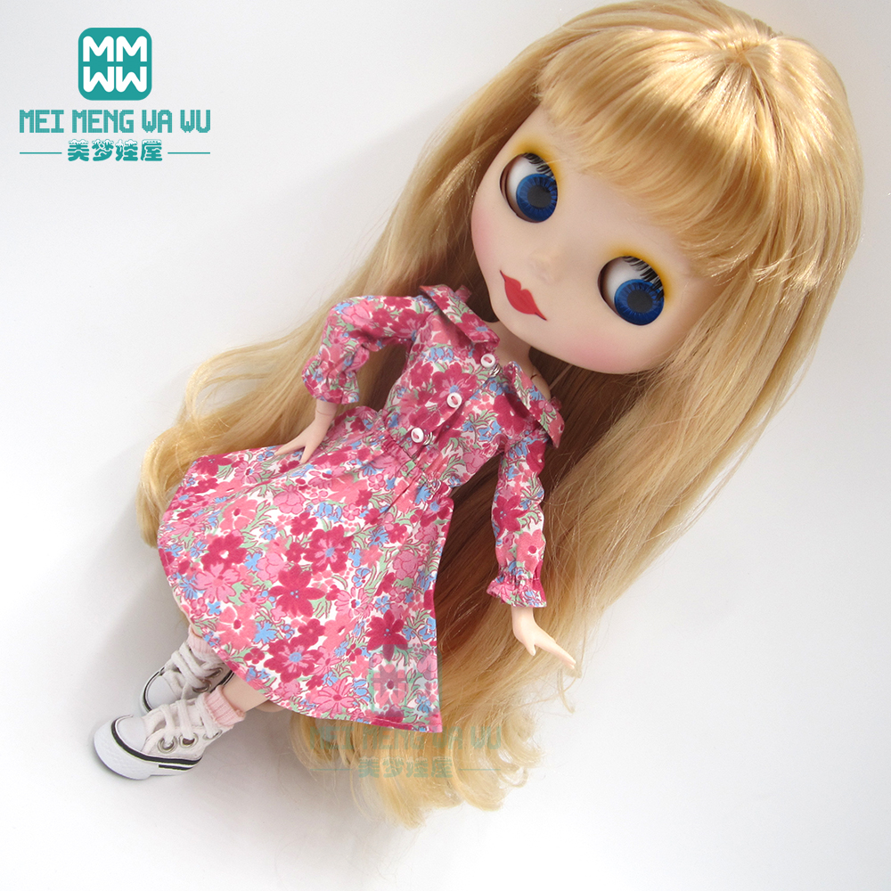 1pcs Blyth Doll Clothes Fashion Rose Red Strapless Dress For Blyth , Azone1/6 Doll Accessories