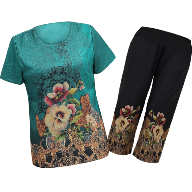 New Summer Casual Suit Women Short-sleeved T-shirt Nine pants Two-piece outfits Sets Women's Printed Pullovers Plus size Sets 1