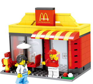 [New] City mini street view MacDonald Hamburg fast food Restaurant store + figures Building blocks funny assembles game toy gift