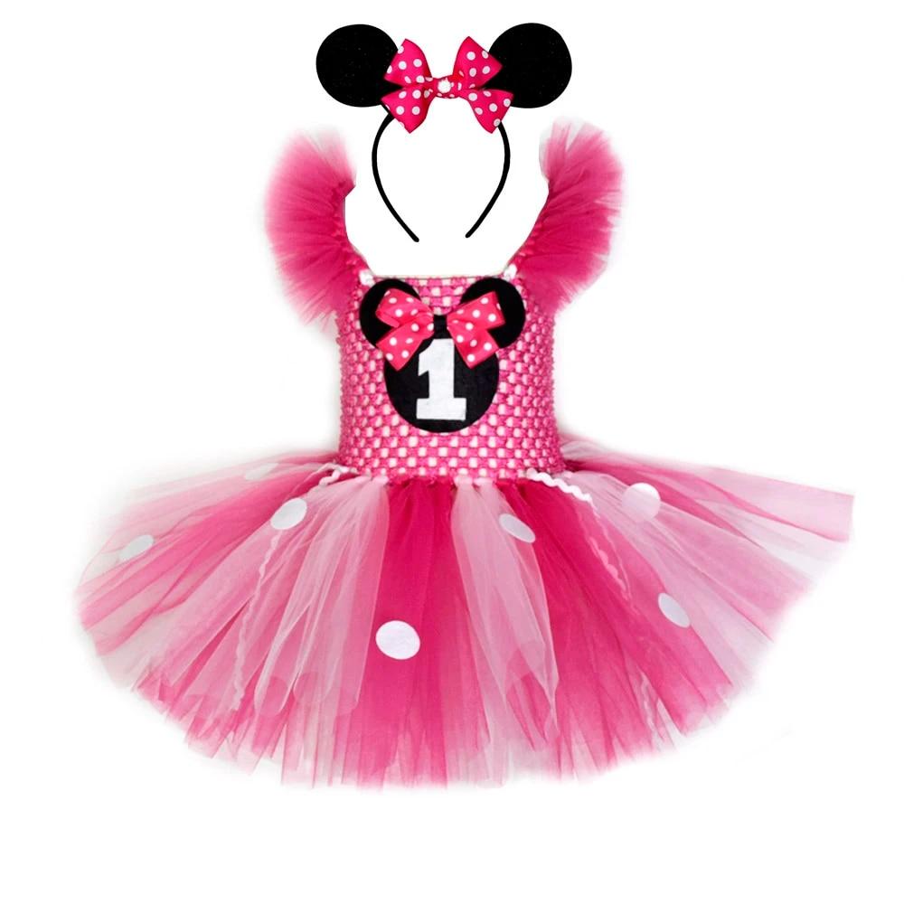 Minnie Tutu Dress And Mouse Ears Headband Set Hot Pink Mouse Birthday Tutu Dresses Minnie Tutu Costume For Girls 1 12y Dresses Aliexpress