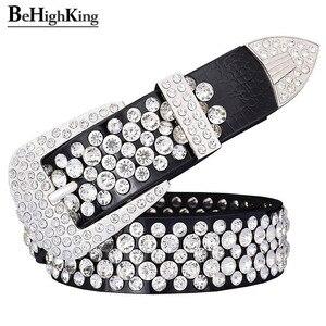 Image 2 - Cinto de couro legítimo, cinto de couro genuíno de luxo, brilhante, com strass, para mulheres, macio, cinto de diamante clássico, alça de qualidade feminina, largura 3.3