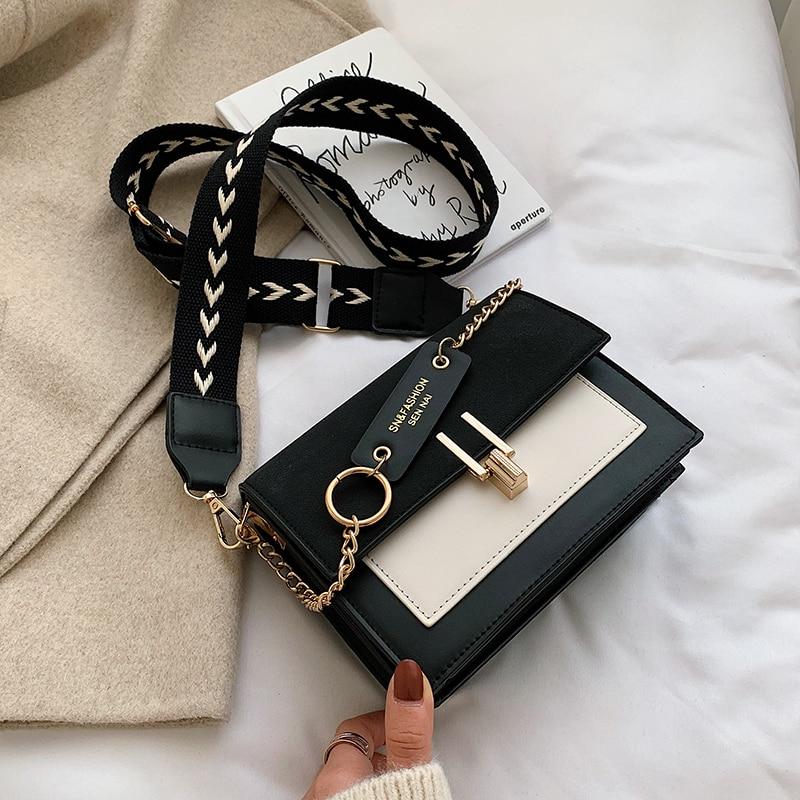 Women Bag Mini Handbags Women Fashion Ins Retro Wide Shoulder Strap Messenger Bag Purse Simple Style Crossbody Bags