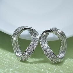 S925 Silver Sterling Earring VVS1 Mini 2 Carats Diamond Kolczyki Orecchini Fine Bizuteria Silver 925 Jewelry Earrings