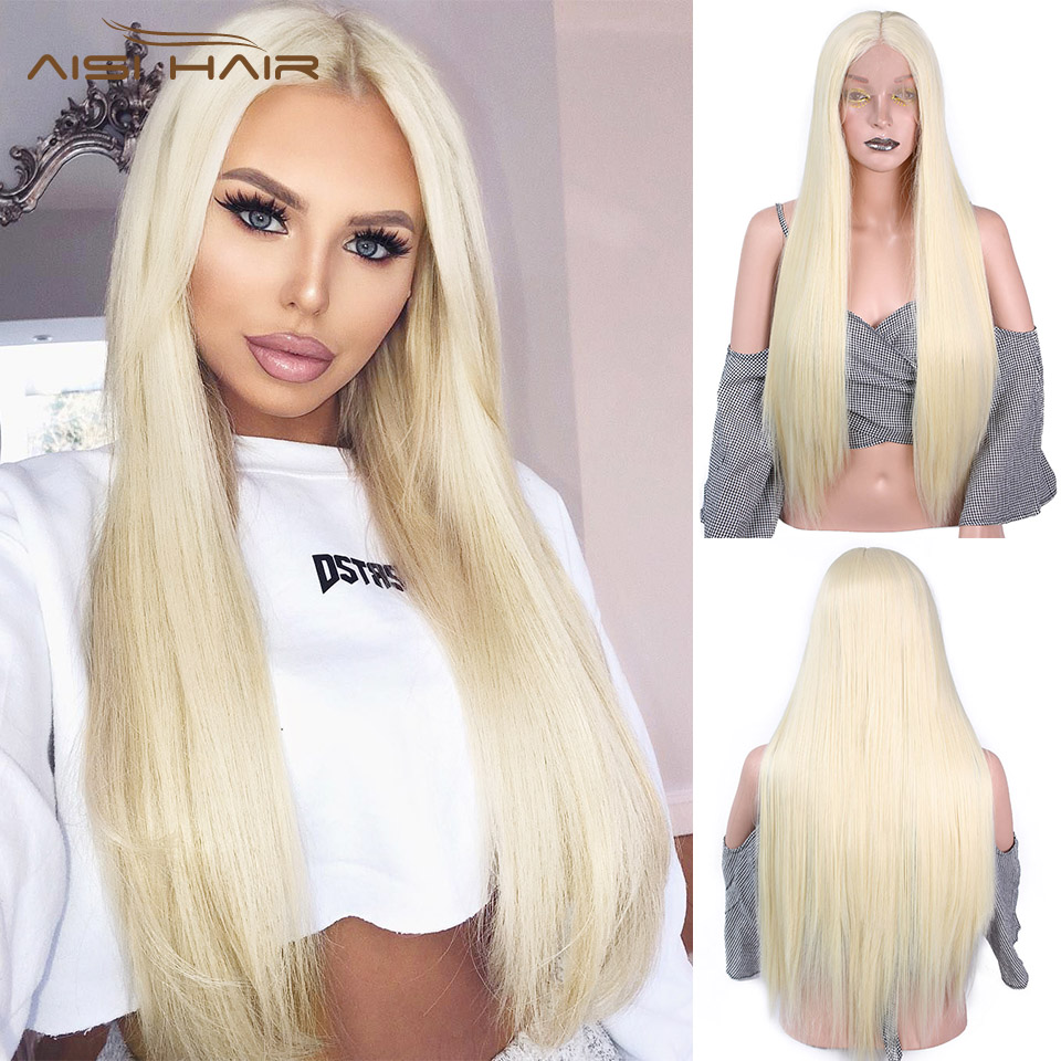 Wig Fiber-Hair Blonde Lace-Wig-613 Middle-Part Front Pink Long Synthetic Straight Women title=