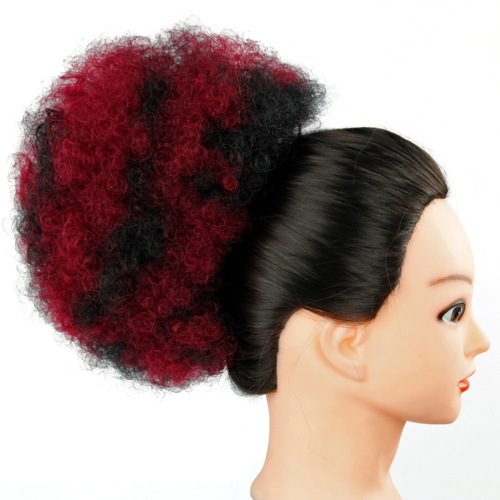 YXCHERISHAIR Afro Chignon Hair Bun Piece High Temperature Fiber Ombre Curly Synthetic Afro Drawstring Ponytail Extensions
